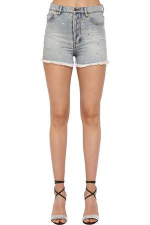 ALEXANDRE VAUTHIER Crystal Embellished Cotton Denim Shorts