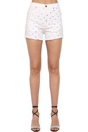 ALEXANDRE VAUTHIER Naiset Shortsit - Crystal Embellished Cotton Denim Shorts