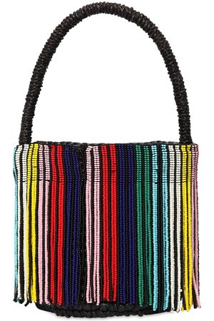 SENSI STUDIO Mini Rainbow Beaded Straw Bucket Bag