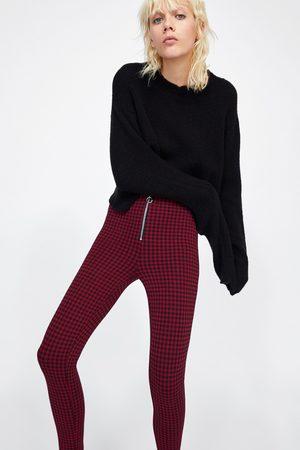 Zara CHECKED LEGGINGS WITH ZIP