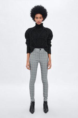 Zara Leggingsit - CHECKED HIGH WAIST LEGGINGS
