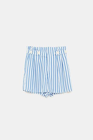 Zara PAPERBAG BERMUDA SHORTS WITH BUTTONS