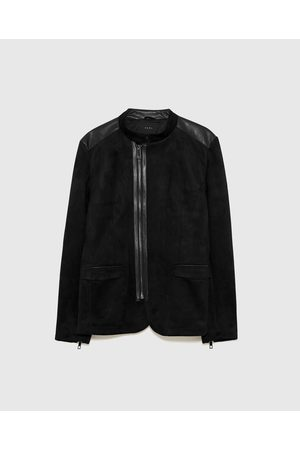 Zara CONTRASTING FAUX LEATHER JACKET