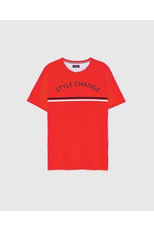 Zara PRINTED T-SHIRT WITH STRIPE DETAIL