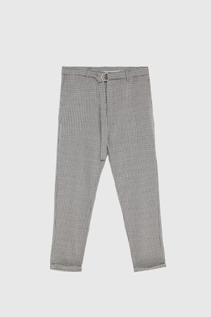 Zara CHECKED TROUSERS WITH BELT