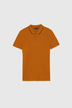 Zara MUSCLE FIT RIBBED POLO SHIRT