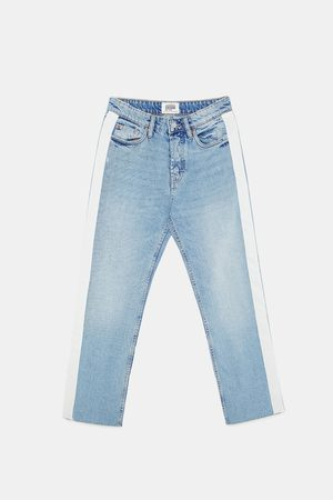 Zara AUTHENTIC DENIM HI-RISE STRAIGHT-LEG JEANS WITH SIDE TAPING
