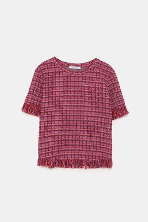 Zara FRINGED TWEED T-SHIRT