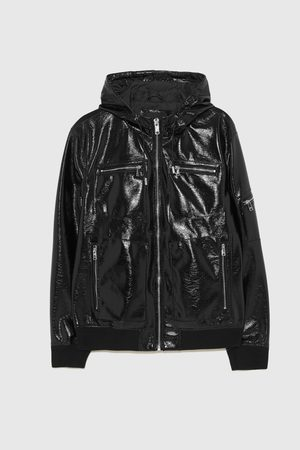 Zara FAUX LEATHER JACKET WITH HOOD