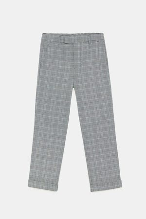 Zara SLIM FIT CHECKED TROUSERS