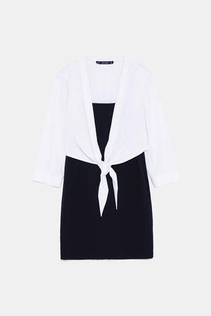 Zara CONTRAST PENCIL DRESS WITH OVERLAID TOP