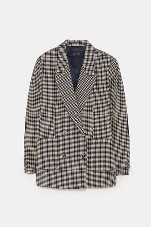Zara CHECKED BLAZER WITH ELBOW PATCHES
