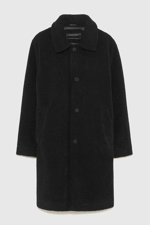 Zara THREE-QUARTER-LENGTH COAT WITH FAUX SHEARLING