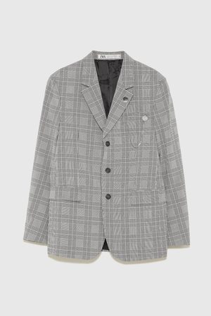 Zara CHECKED BLAZER WITH CHAIN DETAIL