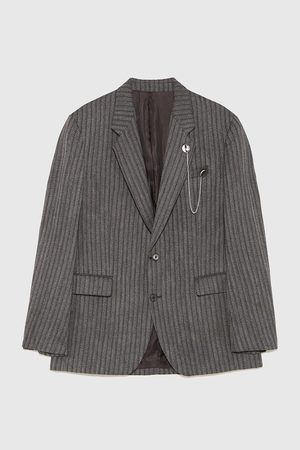 Zara HERRINGBONE BLAZER WITH CHAIN DETAIL
