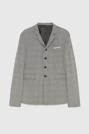 Zara CHECK BLAZER WITH CHAIN DETAIL