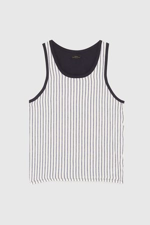 Zara CONTRAST STRIPED T-SHIRT