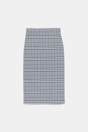 Zara CHECK PENCIL SKIRT