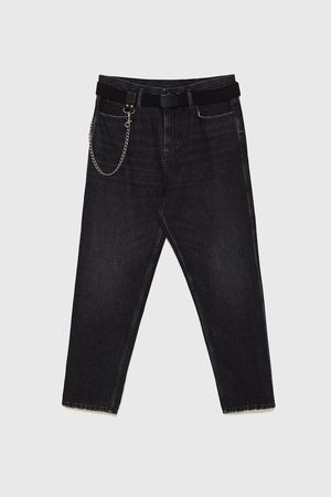 Zara RELAXED FIT JEANS WITH CHAIN