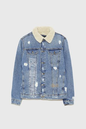 Zara PRINTED DENIM JACKET WITH FAUX SHEARLING