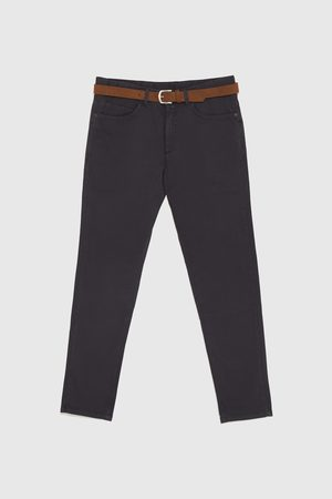 Zara TEXTURED WEAVE TROUSERS WITH BELT