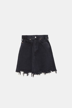 Zara ZW PREMIUM DENIM SKIRT WITH ELASTIC WAISTBAND