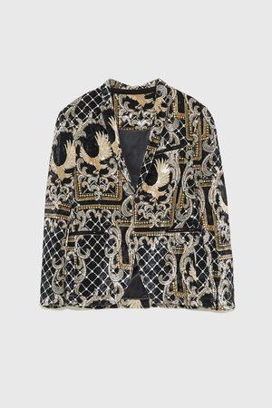 Zara Printed velvet blazer