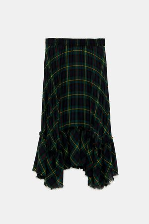 Zara PLEATED CHECK SKIRT