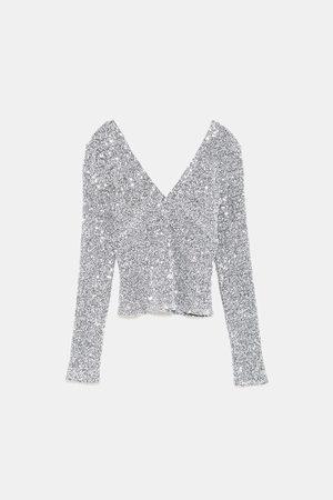 Zara SEQUINNED T-SHIRT