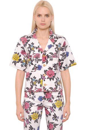 House of Holland Rose Printed Cotton Denim Shirt