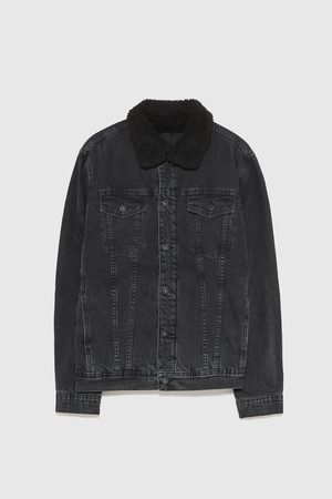 Zara FAUX SHEARLING AND DENIM JACKET