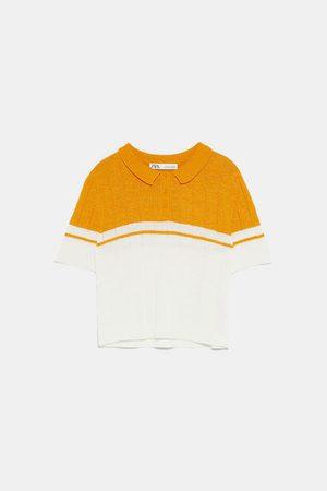 Zara Two-tone knit polo sweater