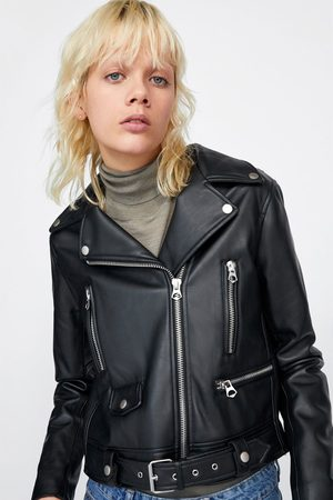 Zara FAUX LEATHER JACKET WITH ZIPS