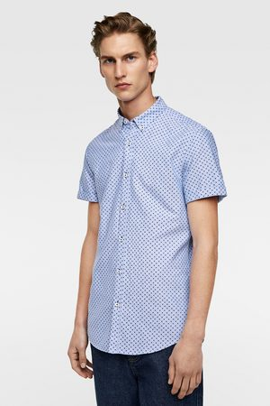 Zara PRINTED OXFORD SHIRT