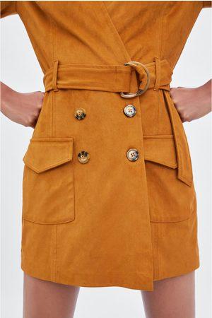 Zara Faux suede jumpsuit dress