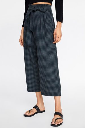 Zara Check culotte trousers with tie belt