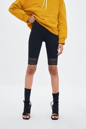 Zara Lace-trimmed cycling bermuda shorts
