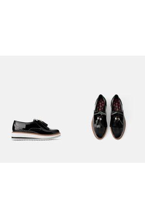 Zara Faux patent leather platform derby shoes