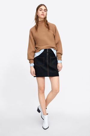 Zara Faux suede mini skirt with topstitching