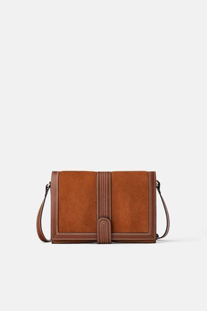 Zara Topstitched crossbody bag