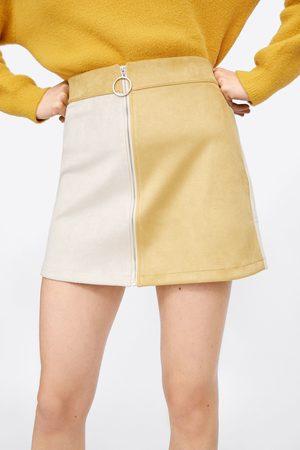 Zara Colour block faux suede mini skirt