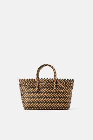Zara Two-tone woven tote bag