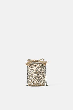 Zara Straw crossbody bag with seashells