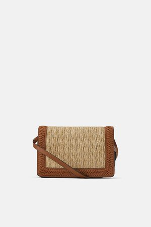 Zara Raffia and leather contrast crossbody bag