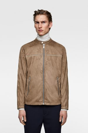 Zara Faux suede jacket with piping