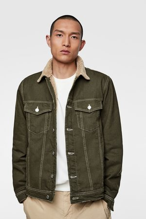 Zara Denim jacket with contrast faux shearling