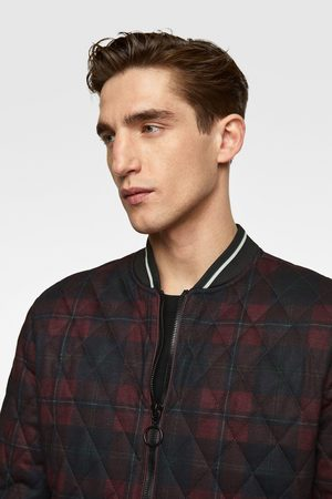 Zara Quilted checked bomber jacket