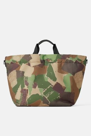 Zara Camouflage quilted tote bag