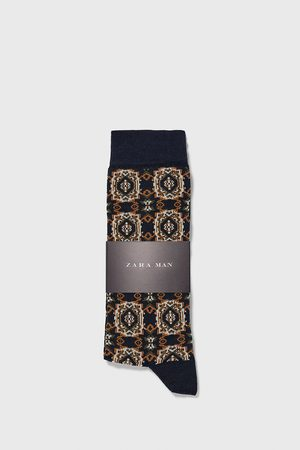 Zara Jacquard mercerised cotton socks