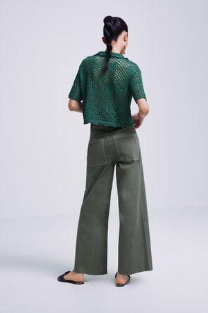 Zara Jeans zw premium marine culotte coated